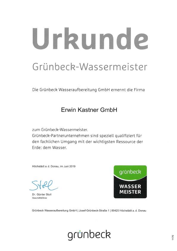 Urkunde Grünbeck-Wassermeister